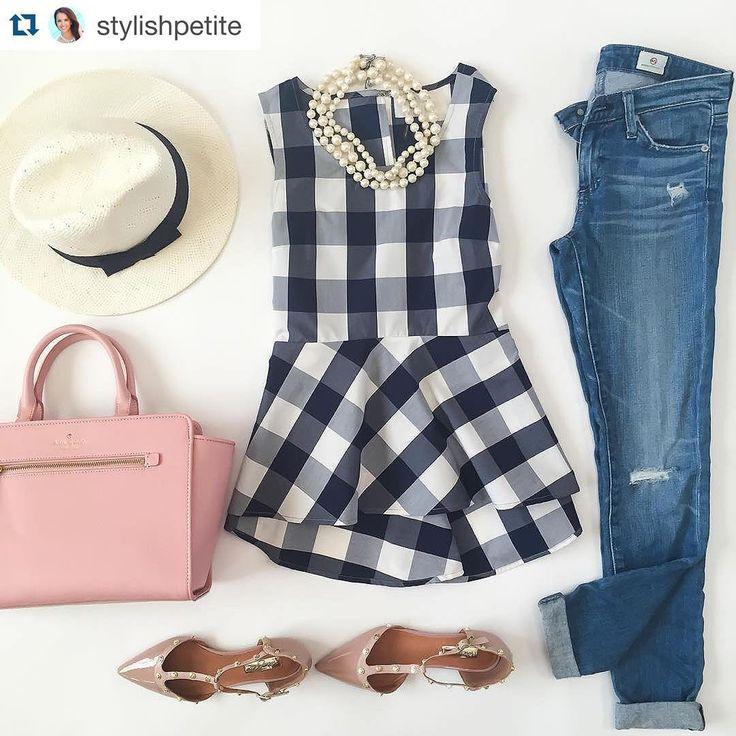 ↣ Mon imprimé chouchou du moment : le vichy! Spécialement lorsque les carreaux sont marineVoilà un exemple *parfait* de tenue pour le porter #regram @stylishpetite #gingham #print #vichy #checkshirt #outfit #summer #girly #pretty #inspiration #pink #purse #jeans