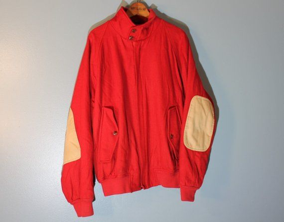 Vintage 1980 S Nautica Red Wool Bomber Jacket With Beige Elbow Patches Men S Medium Wool Bomber Jacket Elbow Patches Men Long Sleeve Tshirt Men
