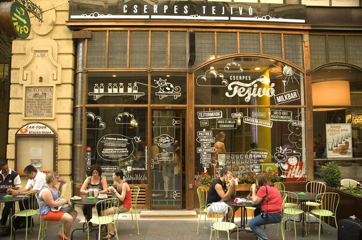 There are various cafes on the Vaci Utca in Budapest. We crossed this one on our way to Hard Rock Cafe.