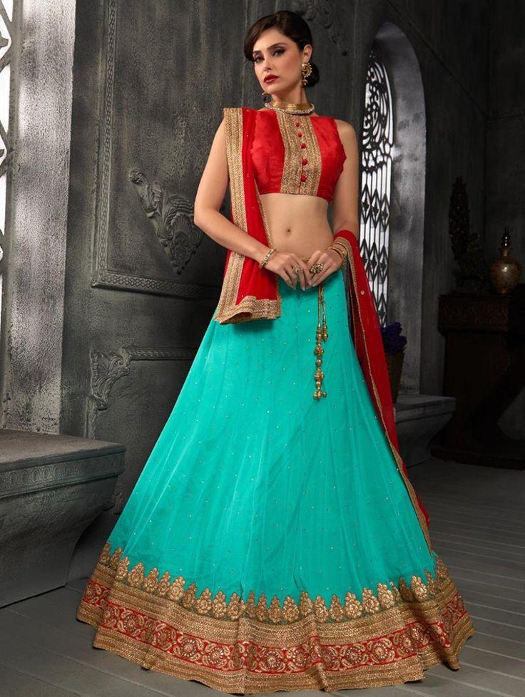 Blue Net Lehenga Choli with Diamond Work
