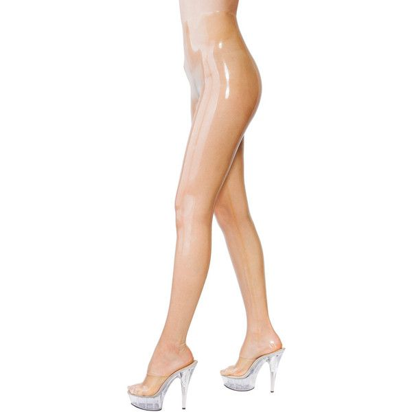 Translucent Latex Tights ($65) ❤ liked on Polyvore featuring intimates, hosiery, tights, light yellow, women's clothing, sexy hosiery, thick tights, sexy tights, glossy pantyhose and wet look tights