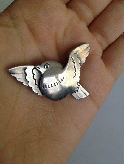 Vintage Antique Georg Jensen Silver Bird Brooch Pin  designed by Arno Malinowski