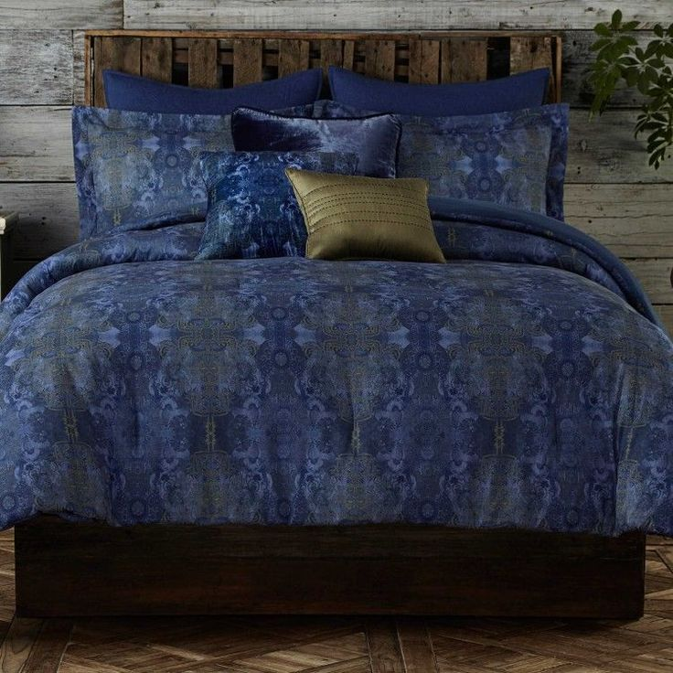 king Size Blue Comforter Set Damask TieDye Bohemian