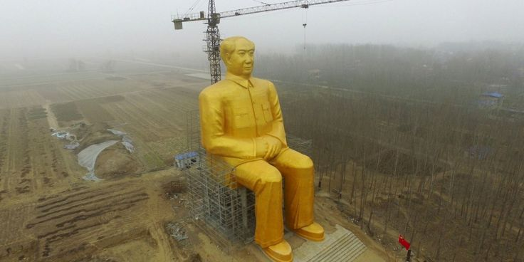 The statue was apparently destroyed for lacking government approval.