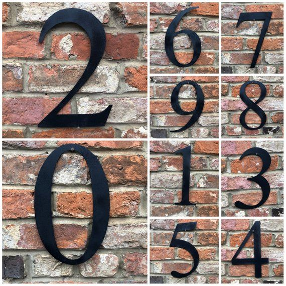 Large 12 Black Metal House Door Wall Number Sign Vintage Rustic