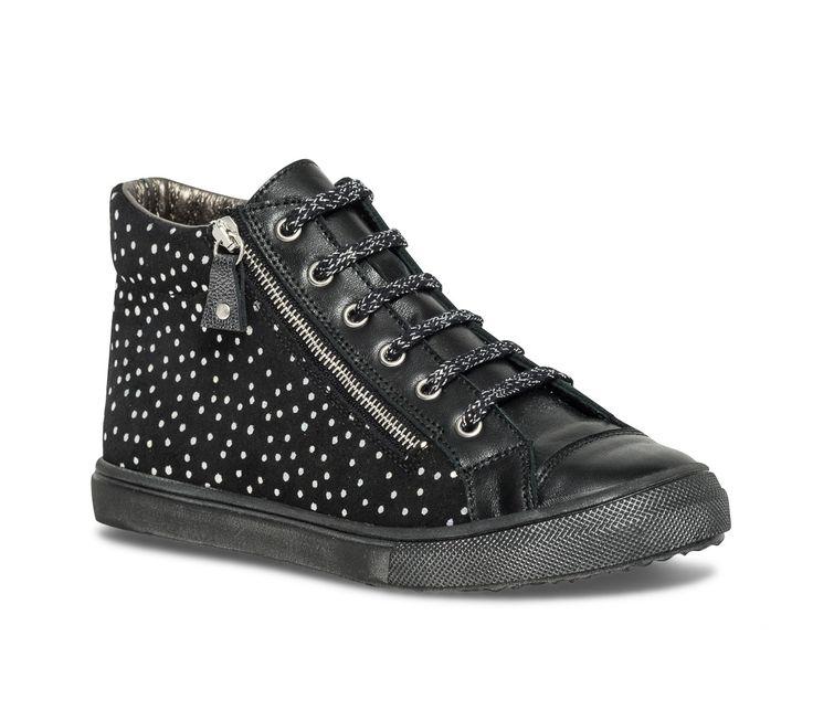 Basket montante Bopy Sulfate pois cuir noir - Baskets - Chaussures fille - Chaussures enfant