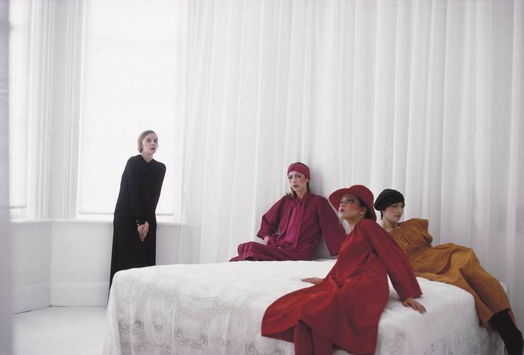 Deborah Turbeville photo of Jean Muir with models in her suede dresses in Vogue, February 1975