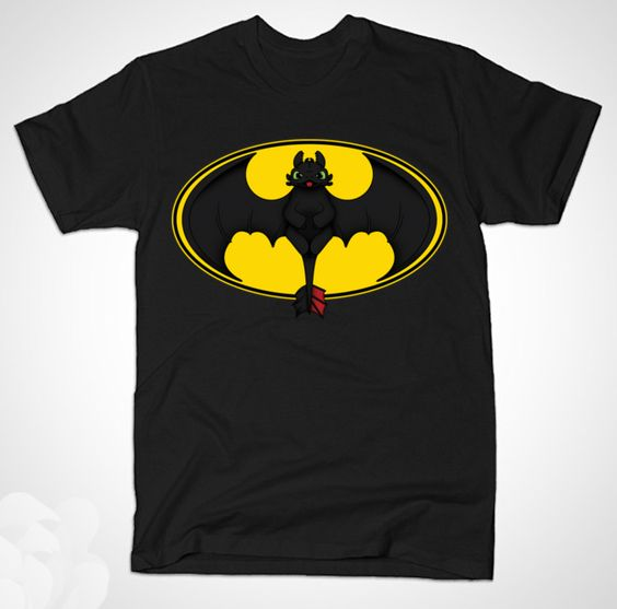 Toothless Batman T Shirt | The Night Fury dragon in the shape of Batman's logo. | Available for Kids, Men and Women | Hoodies Too! | Very Cool Shirt for Dark Knight Fans Who Also Love How To Train Your Dragon. | Visit http://shirtminion.com/2015/03/toothless-batman-t-shirt/