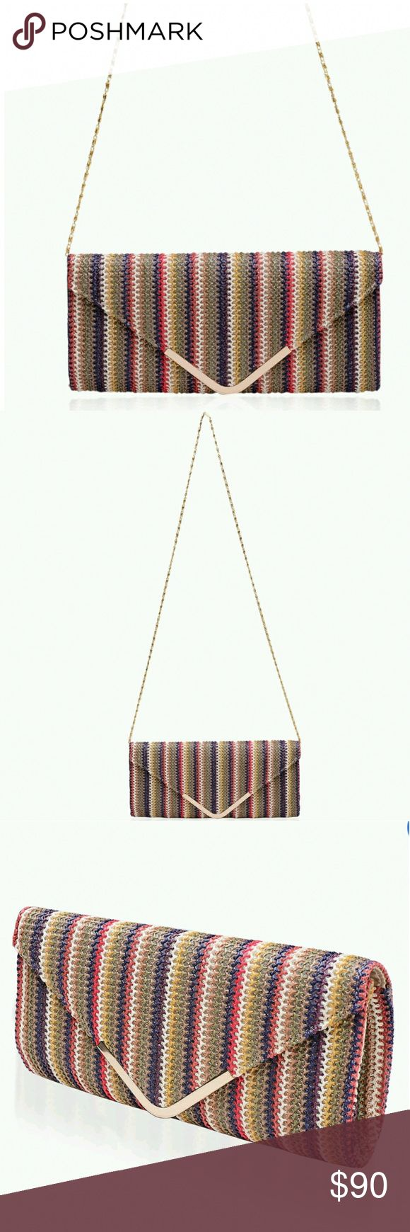 JUST iNMulti-color clutch (11x5.5x5) J Francis Collection multi-color stripe pattern handbag. This satin bag is the perfect accessory to jazz up any of your classy ensembles. Bags Clutches & Wristlets