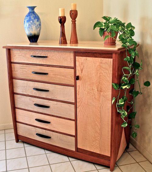 Custom Handmade Dresser In Bubinga & Curly Maple