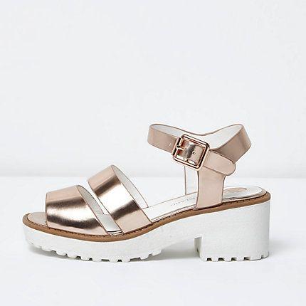 Girls rose gold metallic chunky sandals $40.00