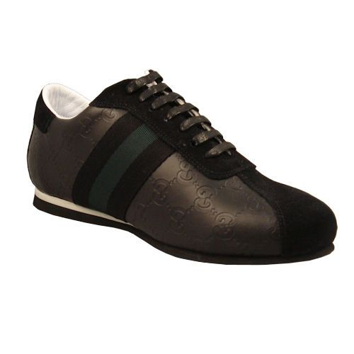 Gucci Shoes for Men | Gucci Men Sneakers - Classic Icon-Black Leather With Green Stripe