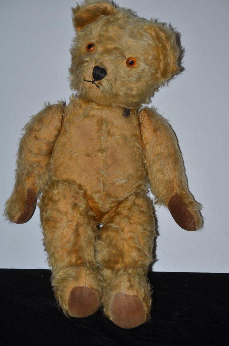 Wonderful Large Teddy Bear Jointed Mohair Velveteen Paws W/ Bear Pin