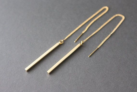 Gold Bar Threader Earrings// Bar and chain earrings by bySiukwan