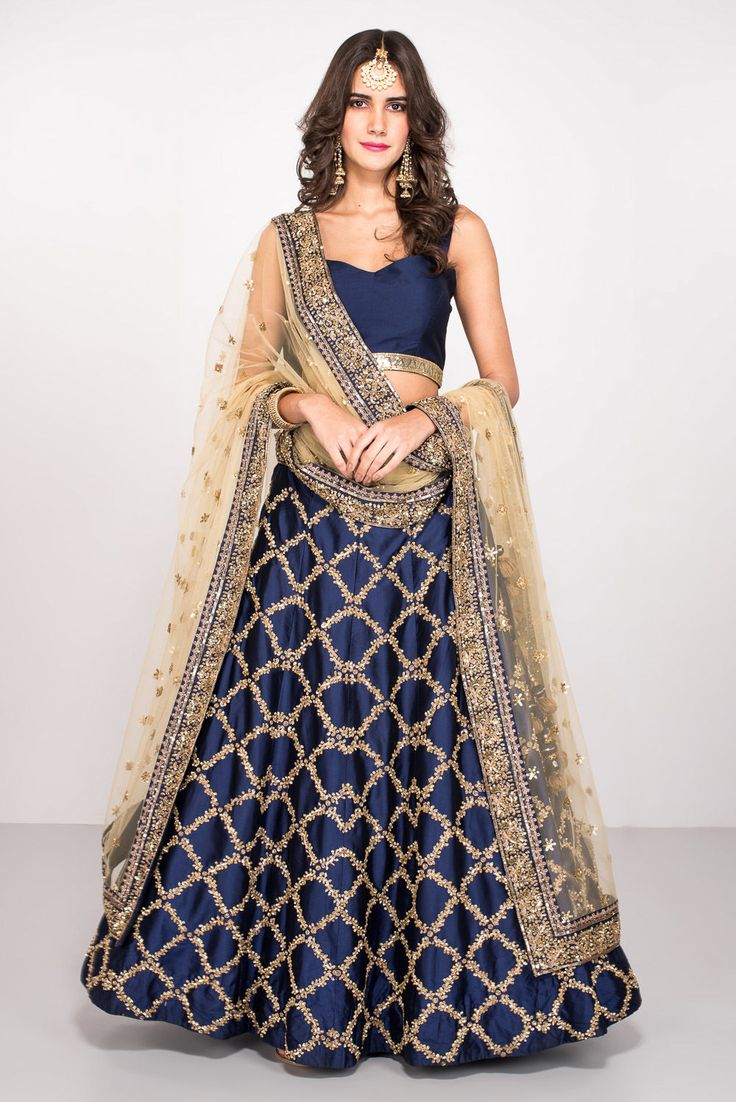 Rent MALVIKA TALWAR - Navy Blue And Beige Embroidered Lehenga Set