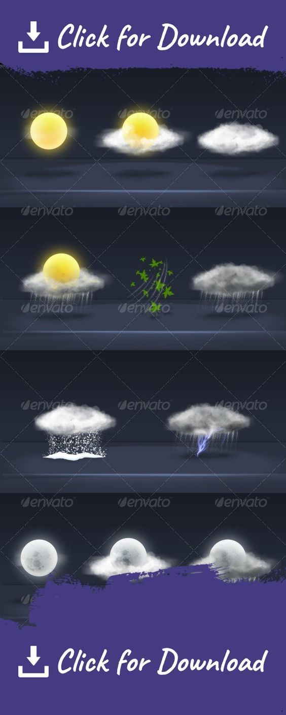 app, clouds, color, icon, moon, multi, perspective, storm, sun, thunder, weather, wind Realistic lookin weather icons 	the size you see is the actual size 200×190