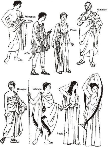 Рисунок древнегреческого костюма женщины