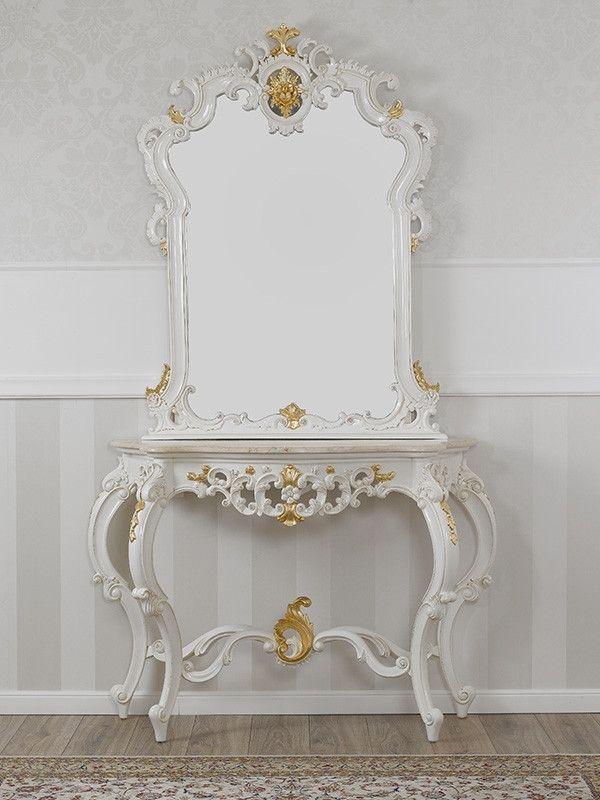 Consolle E Specchiere.Consolle Con Specchio Stile Barocco Decape Avorio E Foglia