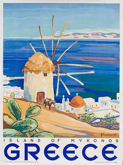 Mykonos, Greece vintage travel poster