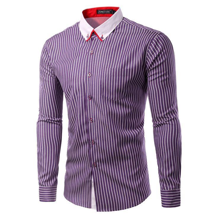 Striped Formal Dress Shirt Long Sleeve