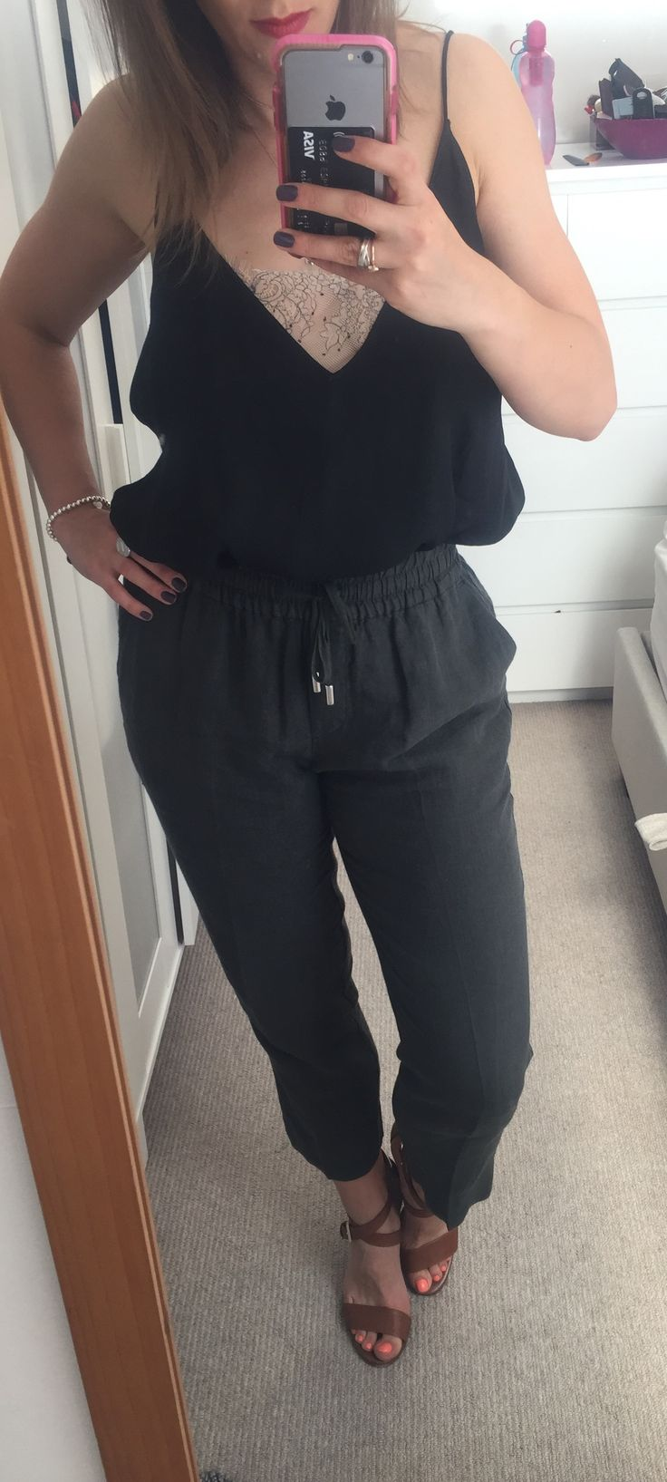 Top Free People, Linen pants Whistles, Heels Massimo Dutti