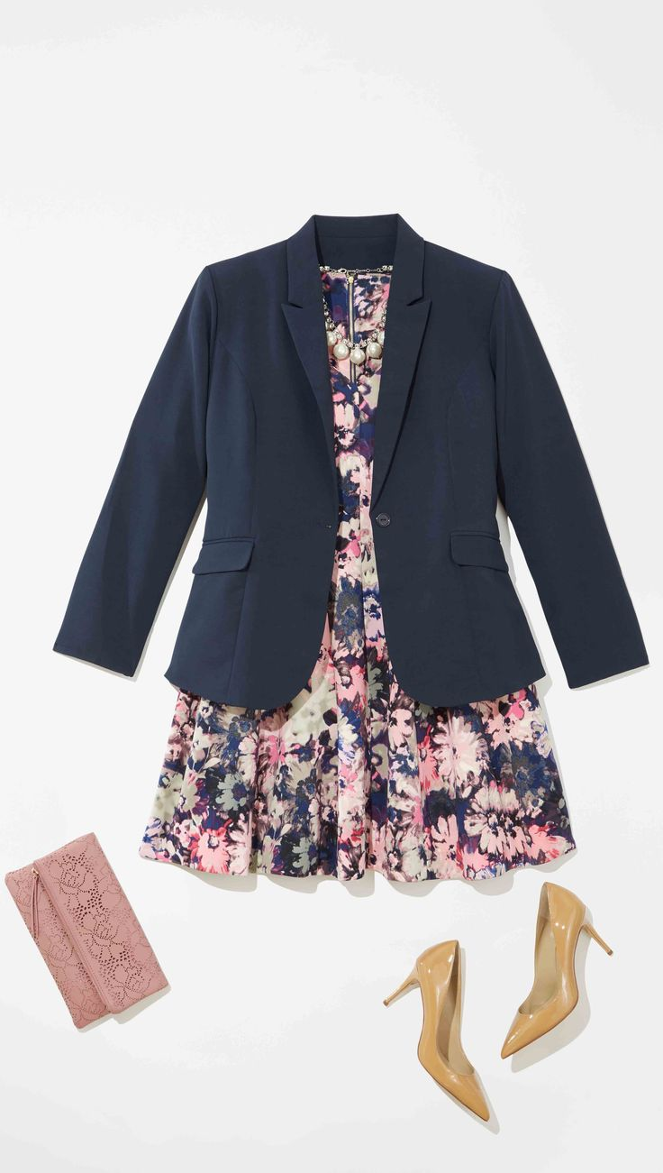 Plus Size Fashion: Add a navy blazer to your pink floral dress this Easter for an easy transition from church to Sunday brunch.