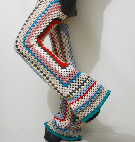 CROCHET Granny Square Pants FLARES Bells Rainbow 70s Vintage knit WOOL Hippie…