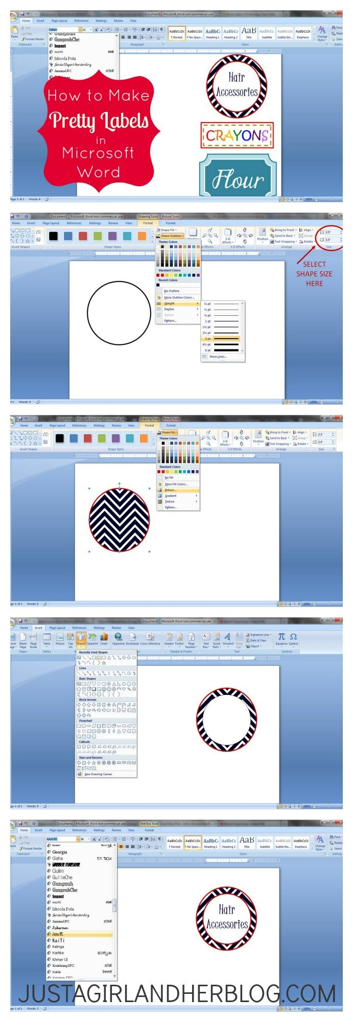 Step by Step Istructions to Make Labels in Microsoft Word... So Pretty! | JustAGirlAndHerBlog.com