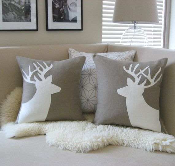 Deer Pair Decorative Pillow Covers, Sand Beige & Cream Appliqué Buck Silhouettes, 18x18, Antlers, Woodland Decor, Rustic Chic, Luxe Lodge: Deer Pair Decorative Pillow Covers, Sand Beige & Cream Appliqué Buck Silhouettes, 18x18, Antlers, Woodland Decor, Rustic Chic, Luxe Lodge