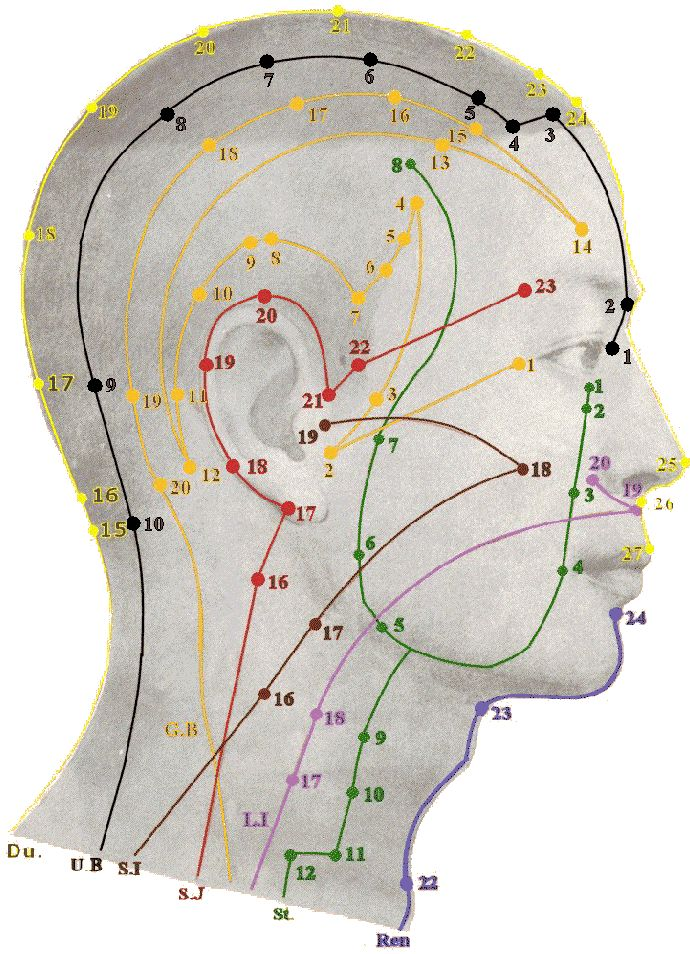 Acupuncture points of the head. All the meridian points are listed if you click through this link. Listed below are the twelve primary energy meridians, their time periods and the main emotions linked with them: