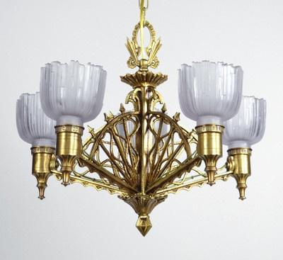art deco chandelier slip slipper shade hanging light antique vintage gold ornate