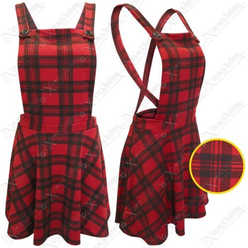 NEW LADIES DUNGAREES SKIRT DRESS WOMEN RED TARTAN CHECK PINAFORE TOP LOOK SKATER | eBay #fashion #style #clothing #shopping