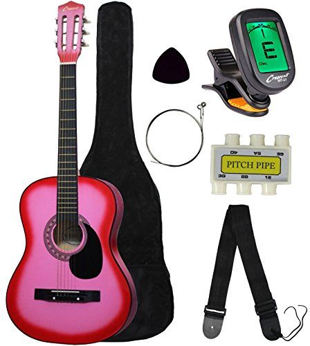 """Crescent MG38-PK 38"""" Acoustic Guitar Starter Package, PINK (Includes CrescentTM Digital E-Tuner)  Read the rest of this entry » http://onlineguitarlesson.biz/crescent-mg38-pk-38-acoustic-guitar-starter-package-pink-includes-crescenttm-digital-e-tuner/"""