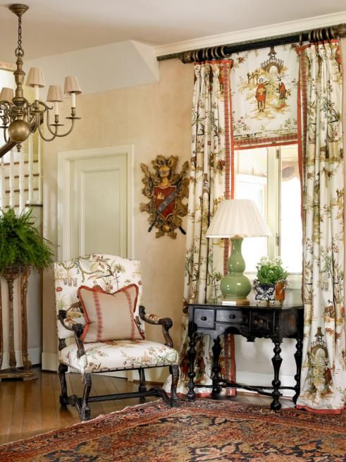 Perfection via Francie Hargrove - the window treatment is oh so perfect to me !!