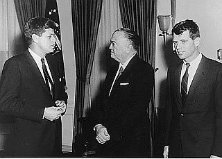 FBI director, J. Edgar Hoover, center, meeting with JFK and Attorney General Robert Kennedy, January 1961.