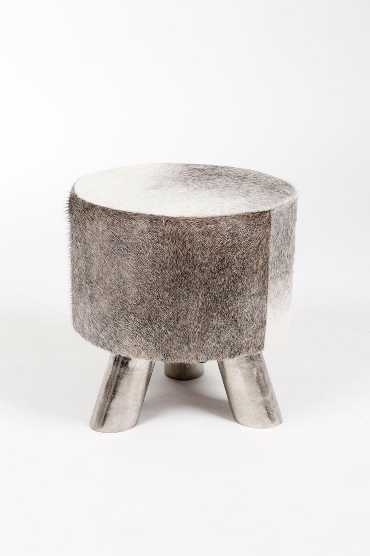 Buttercup Grey Cowhide Footstool