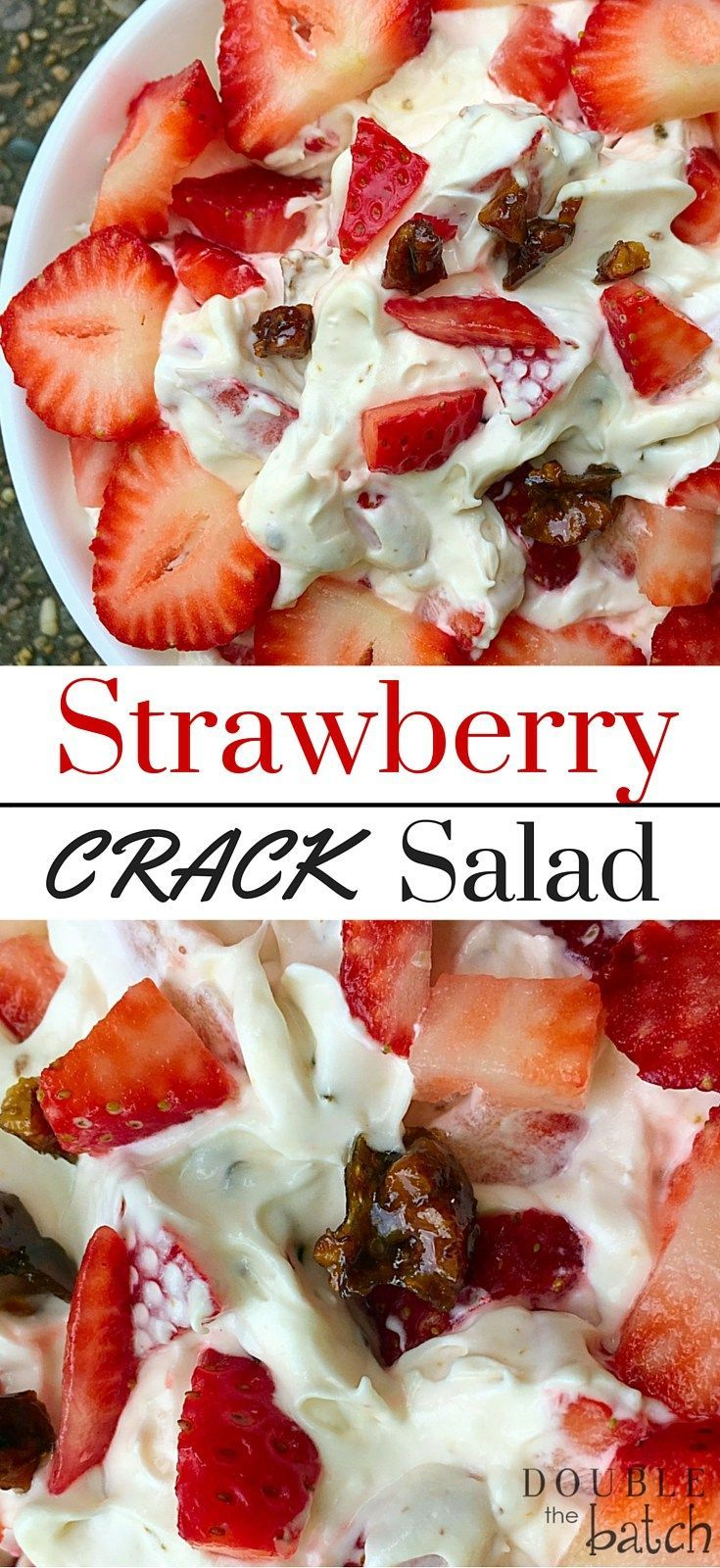 This is absolutely the BEST potluck dessert salad I have everh had! IF you love strawberries, then this strawberriy dessert salad with toffee will make your tastebuds sing!