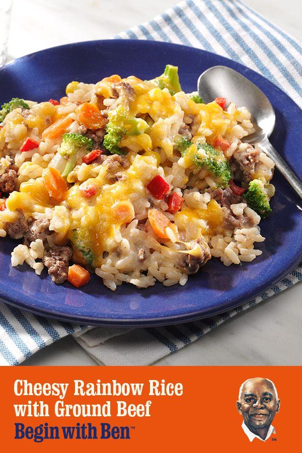 Cheesy Rainbow Rice With Ground Beef Recipe Uncle Ben S Recipe Beef Recipes Ground Beef Ground Beef Recipes