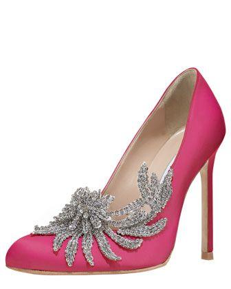 Swan Embellished Satin Pump, Cranberry by MANOLO BLAHNIKEmbellishments Satin, Wedding Shoes, Manolo Blahnik, Blahnik Swan, Wedding Heels, Wedding Dreams, Breaking Dawn, Pink Shoes, Bergdorf Goodman