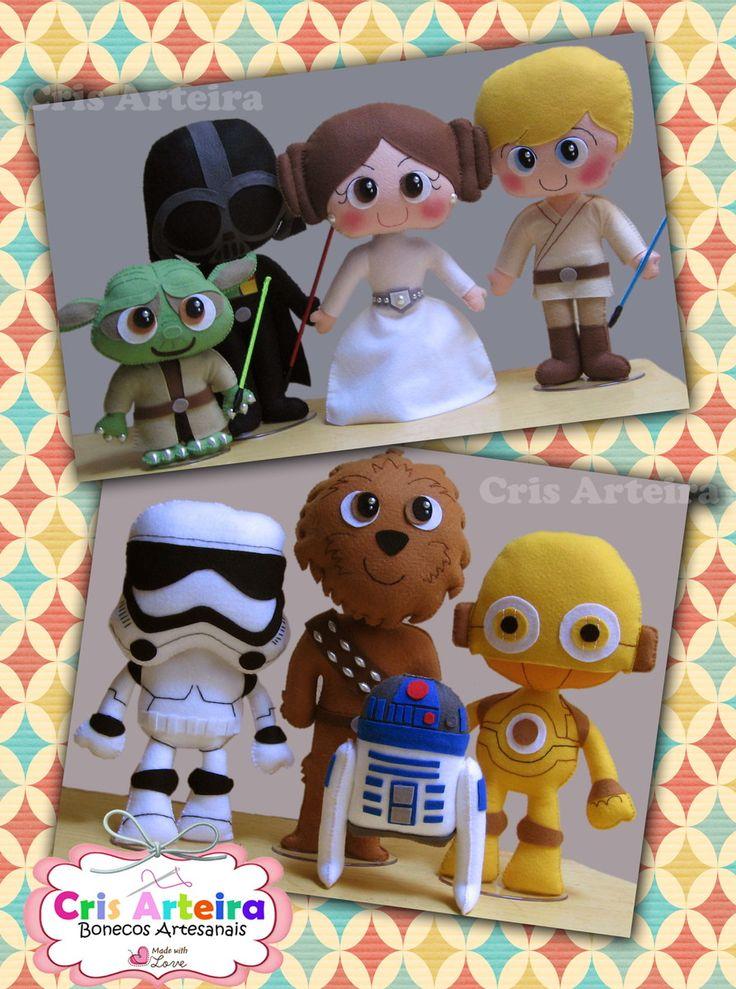 Kit Star Wars, com 8 personagens, confeccionados em feltro.
