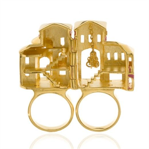 Barbie Dream House Ring: Open interior shot!  Barbie dream house ring is solid brass plated in Gold and enameled in pink. Ring opens up to reveal the inside of her home including a great dangling chandelier, by nOir