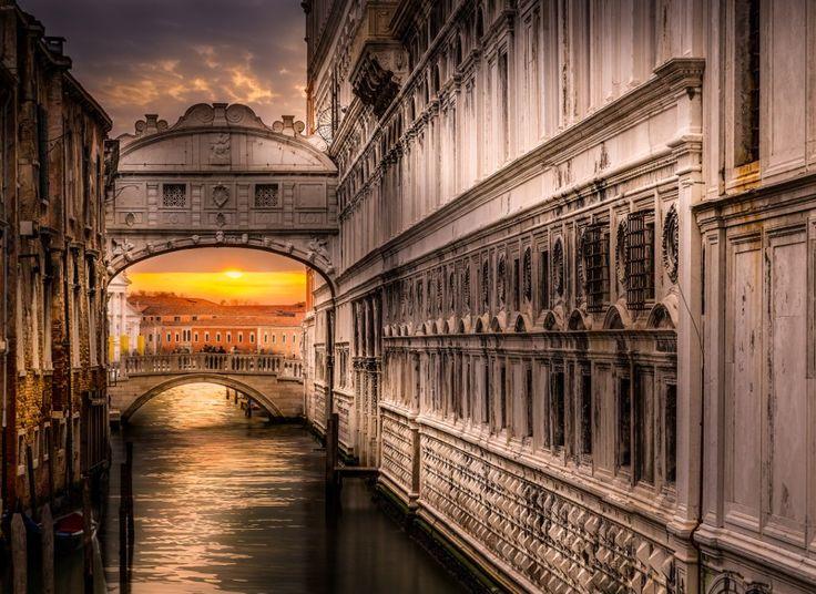 Venice, Italy. #Venice #Bridge #Italia #Old #Ponte dei Sospiri #Sospiri #Sunset #Town #Venedig #Venezia #canon #color #contrast #light #ponte #sighs #sun #sunlight #sunrise #sunshine #travel #water