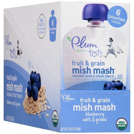 Plum Organics Tots Fruit & Grain Mish Mash Blueberry Oats & Quinoa Snack 6 ct Box