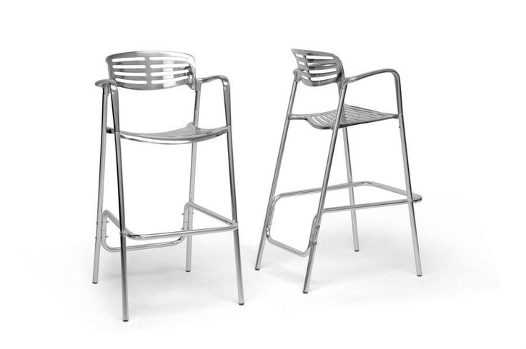 Baxton Studio Ethan Modern Aluminum Bar Stool - Set of 2