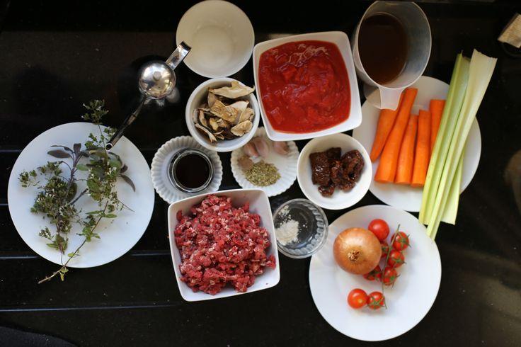 Italian beef Ragù ingredients
