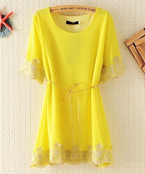 Embroided Lemon Chiffon Lace Dress