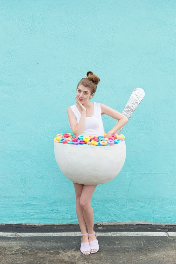 DIY Cereal Bowl Costume - Studio DIY Part of a Breakfast Club group costume! Donut, Bacon, Strawberry, etc.