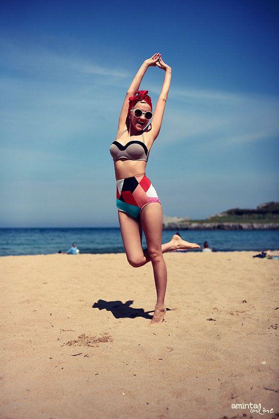 Bold geometric high waisted bikini shorts knicker by BOODWAH