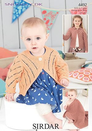Sirdar 4492 Cardigans and Blanket for newborn to 7 years in Double Knitting (#3) weight yarn.