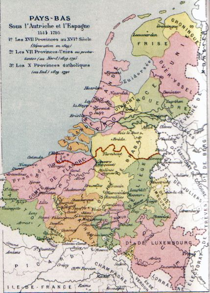 Map of the Seventeen Provinces, 1581 secession outlined in red.